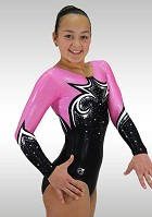 Black velvet Leotard long sleeves shiny wetlook pink silver K759 glitter diamonds