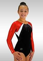 Elegant leotard black smooth Velvet long sleeve red metal wetlook glitter sequins K714
