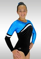 Leotard K783 long sleeve black velvet turquoise wetlook