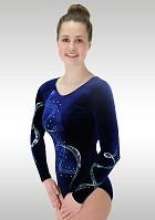 Leotard Long Sleeve Blue Velvet K807 Glitter