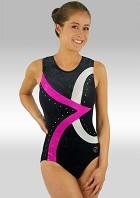 Leotard Without Sleeves Black Velvet Pink Silver Wetlook Glitter Sequins and Rhinestones V499