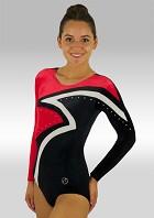 Leotard Long Sleeves Black Red and White Velvet V507