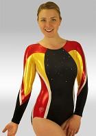 Leotard long Sleeves Black Velvet Red Yellow White Wetlook Glitter Sequins and Rhinestones V524