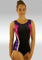 Leotard Whithout Sleeves Black Velvet Purple Pink White Wetlook Glitter Sequins and Rhinestones V530