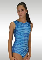 Sleeveless Leotard V740 Turquoise glossy wetlook