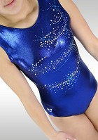 Leotard V778 sleeveless in blue Wetlook and Turquoise glitter