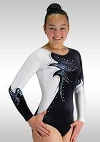 Leotard long sleeves white wetlook black velvet glitter V760